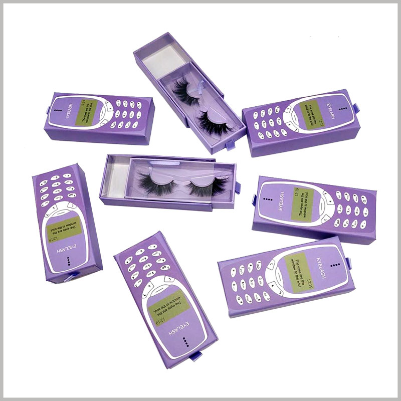 purple cell phone eyelash packaging box with windows. The purple-themed beauty makeup boxes are attractive to women and can help the brand gain more customers.