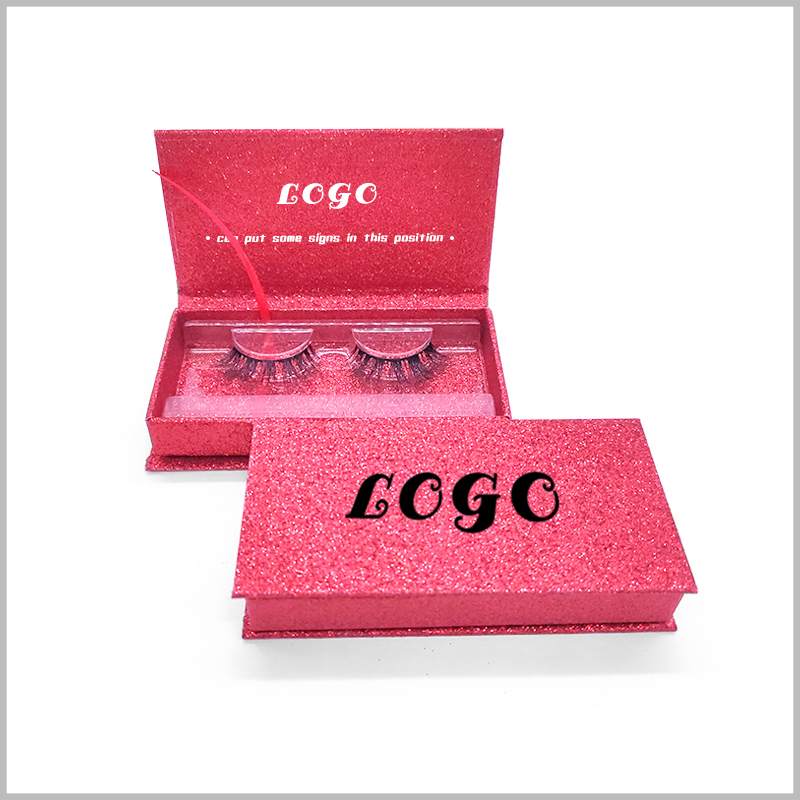 custom red cardboard boxes for eyelash packaging.There is a clear blister inside the packaging boxes, which plays a good role in fixing the product, and the product can be displayed in a better form.