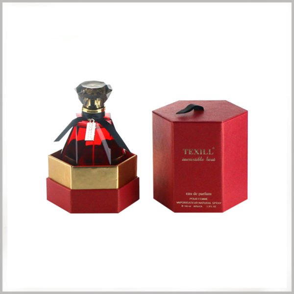 red hexagon packaging for perfume boxes. The inner base of the package has inserts, which can enhance the role of the package to fix and protect the perfume.