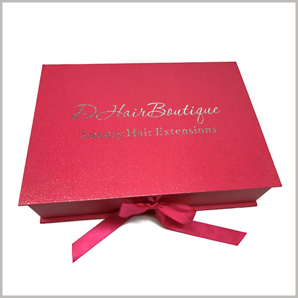 red large gift boxes for hair extensions packaging. The red gift bows can fix the packaging lid, and play the role of decorative packaging.