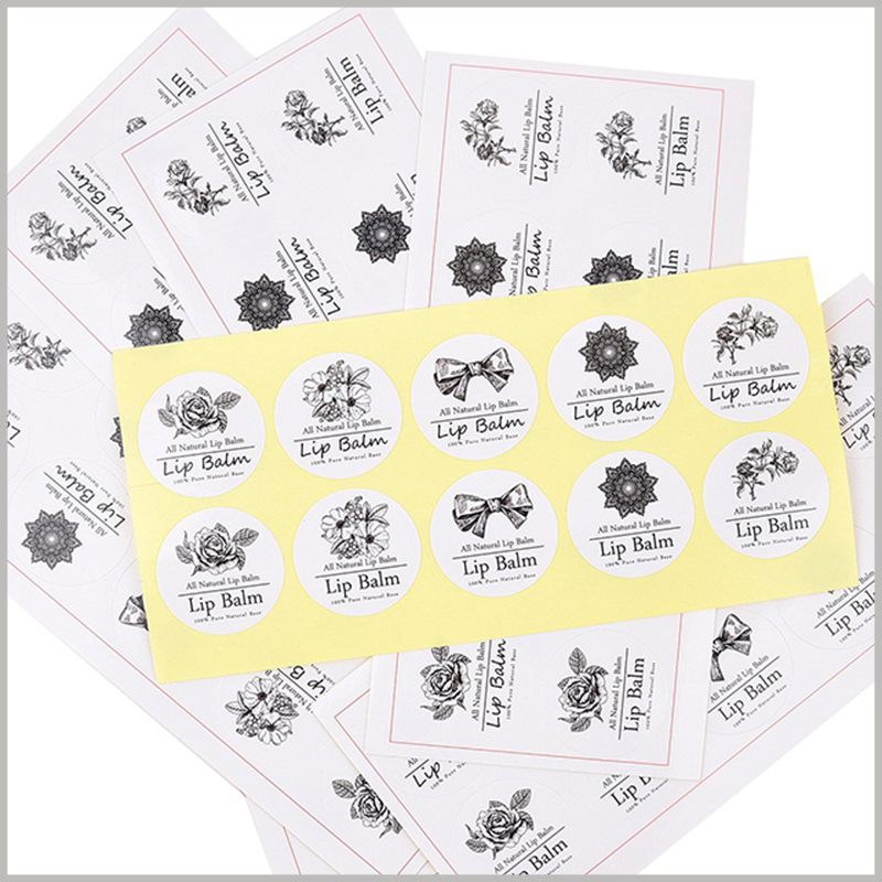 round white printable labels for lip balm.The lip balm label has a round structure, can print content, and has a high viscosity.