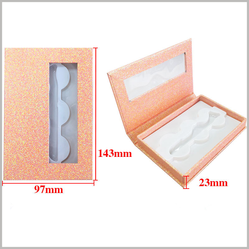shiny eyelash packaing boxes with window for lot of 3 pairs. Box size: L143xW97xH23mm, Material: 1000GSM Cardboard + Texture Paper + Plastic Tray, Weight 85gsm