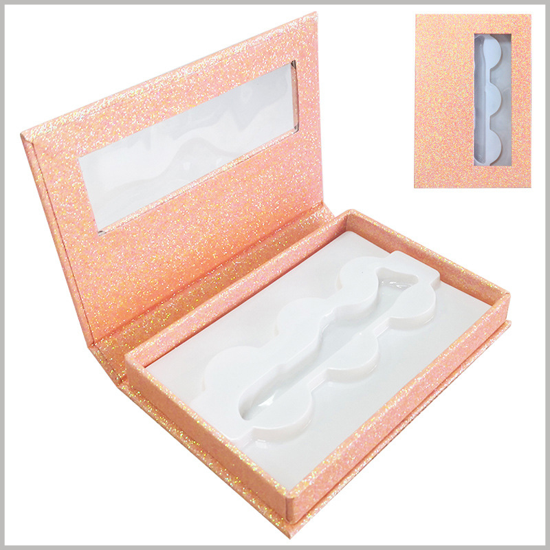 shiny false eyelash packaing box with window for lot of 3 pairs. Pink gold eyelash boxes are very fashionable and will promote the value and price of false eyelash products.
