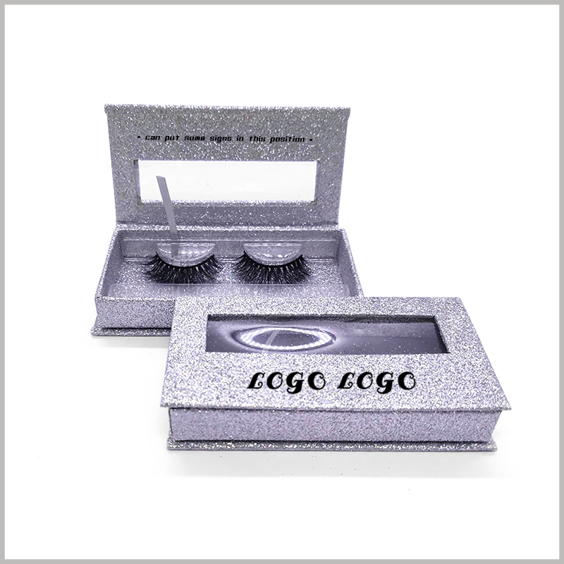 Custom silver cardboard boxes for eyelash packaging.Without opening the package, you can see the eyelashes inside the cardboard boxes through clear windows.
