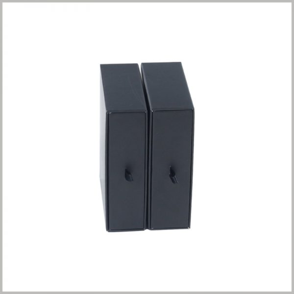 small black cardboard boxes packaging wholesale.The length, height, and width of the boxes can be customized to achieve the purpose of packaging to fit the product.