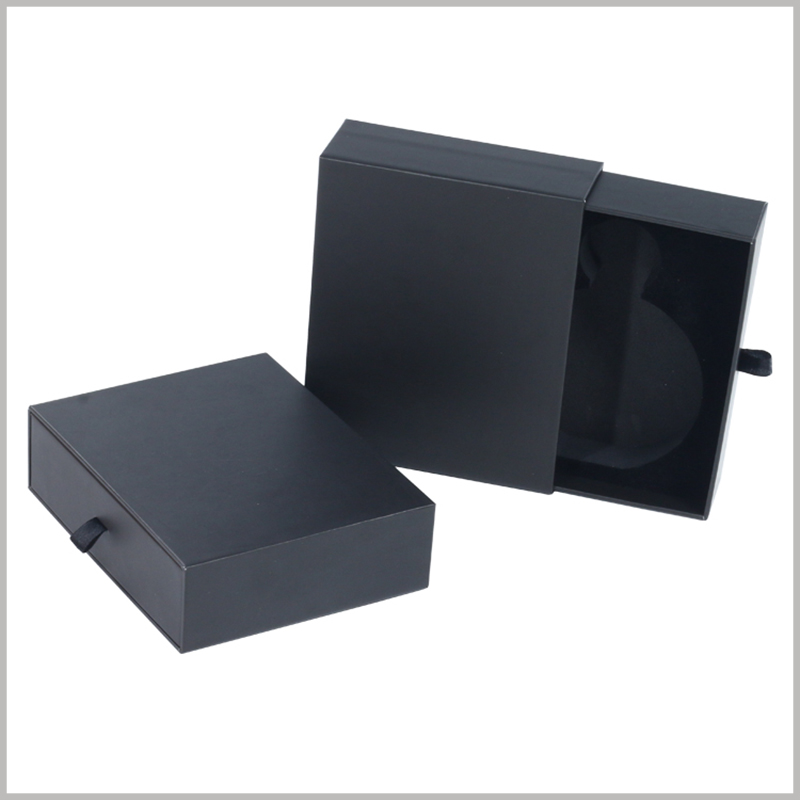 small black cardboard boxes with EVA insert,Open the package in the form of a sliding drawer boxes.