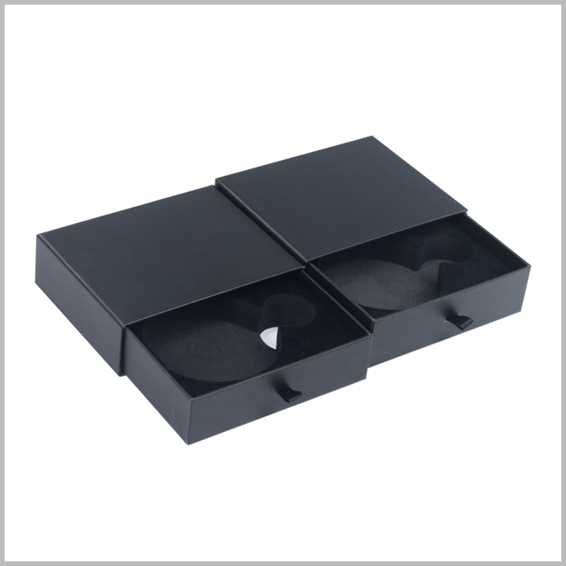 small black cardboard drawer boxes for perfume bottle packaging.A pull ring is set on the edge of the cardboard drawer box, and the pull ring is made of black silk cloth.