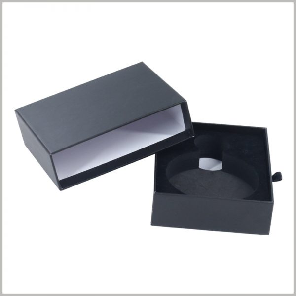 Small black perfume bottle packaging boxes with EVA insert.High-quality customized packaging can fully reflect the value of the product.