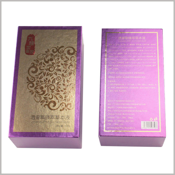 small cardboard boxes lid for essential oil packaging. The overall shape is gorgeous and full of Chinese style. The packaging box chooses noble purple as the background color.