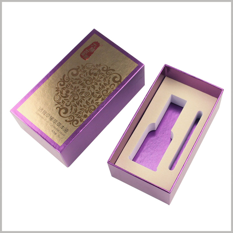 small cardboard boxes with lid for essential oil packaging.On the front and front of the packaging box, a gold foil printing process is used.