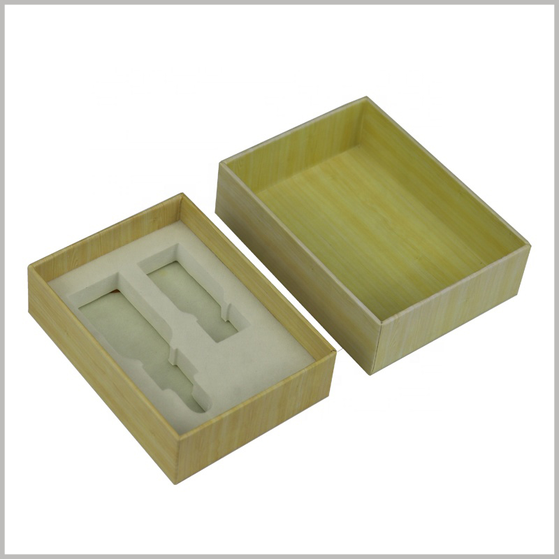 small cardboard packaging for essential oil boxes set. The customized essential oil package can hold two different types and capacities of essential oils, using specific EVA to fix the product.