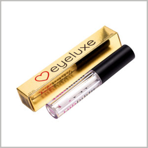 small gold boxes for 6ml lip gloss packaging. The compact packaging structure can only hold a single bottle of 6ml lip gloss, which is a cost-effective cosmetic packaging.