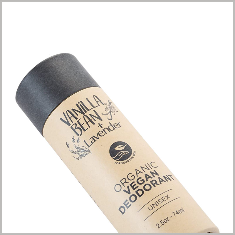 Custom small kraft paper tube for 74ml deodorant packaging. The small diameter tube packaging can be used as a 74ml deodorant container.