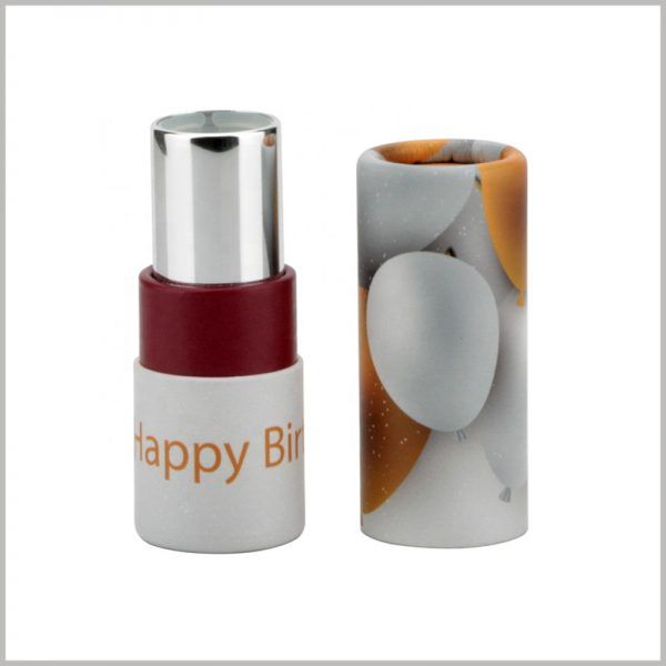 small paper tube for creative lipstick packaging.The main pattern of this cylindrical package is lemon, which brings consumers the concept of fresh lemon as a raw material for lipstick.