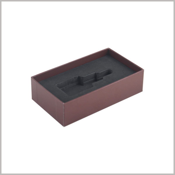 Small rectangle essential oil boxes with EVA insert.Custom black EVA inserts inside the boxes are critical to protect fragile essential oil glass bottles from breaking.
