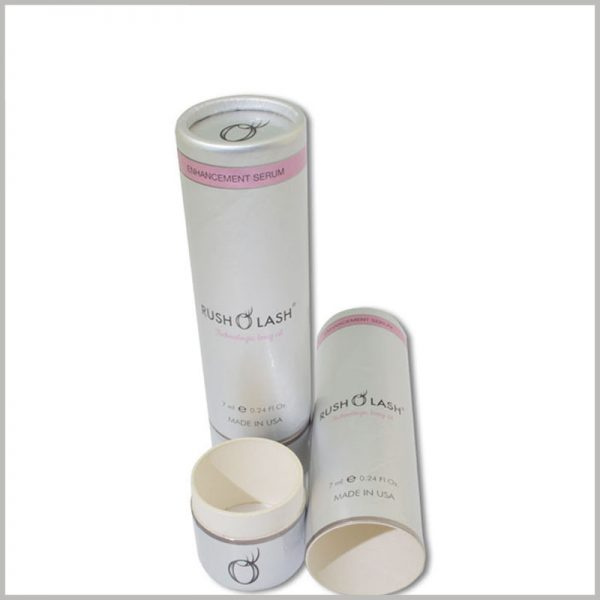 small round boxes for rush lash essential oil packaging.The characteristics of the product and the capacity of the essential oil can be reflected by the printing content of the customized essential oil package.