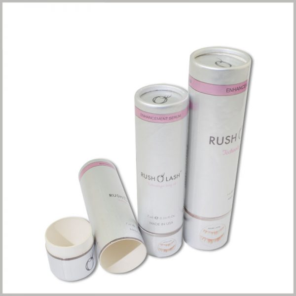 small round boxes for rush lash oil packaging.Custom tube packaging will help your product to show different characteristics and will help the product gain a greater competitive advantage.