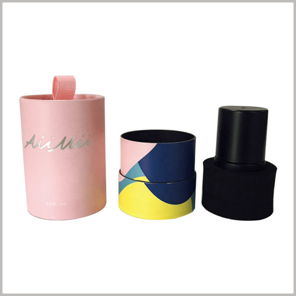 small round boxes for single nail polish packaging. In order to avoid direct contact between the nail polish glass bottle and the inner wall of the paper tube, the EVA ring is used as an insert inside the box to fix the nail polish.