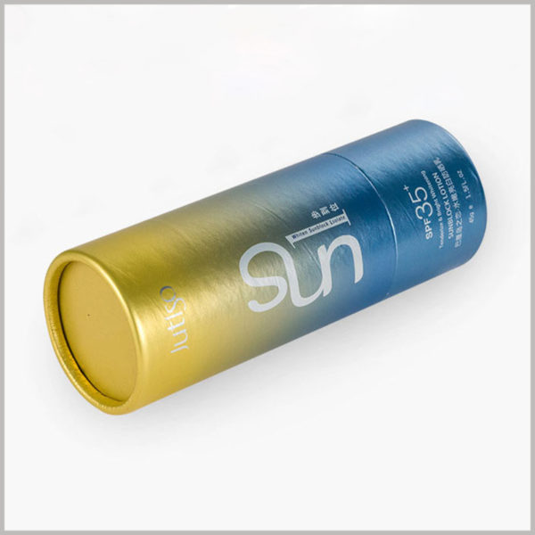 small round boxes packaging for 1.5oz sun lotion. This paper tube can print content, and the diameter and height of the round boxes can be determined according to the product and packaging structure design.