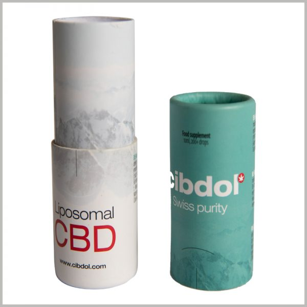 small round cardboard boxes for cbd essential oil packaging.Many essential oil brands ignore the beauty of the inner tube of the paper tube, but you can laminate printed coated paper to the inner tube to improve the aesthetics of the cardboard tube package.