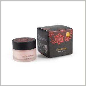 small skin care boxes for 15ml lip mask packaging, The special printing process of four-color printing is used on the box to draw the red flowers with black as the background color.