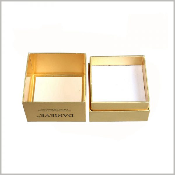 square gold cardboard boxes wholesale. The appearance of the packaging is completely surrounded by gold cardboard. The exterior of the packaging has a golden visual sense, and the skin care product packaging shows more luxury.