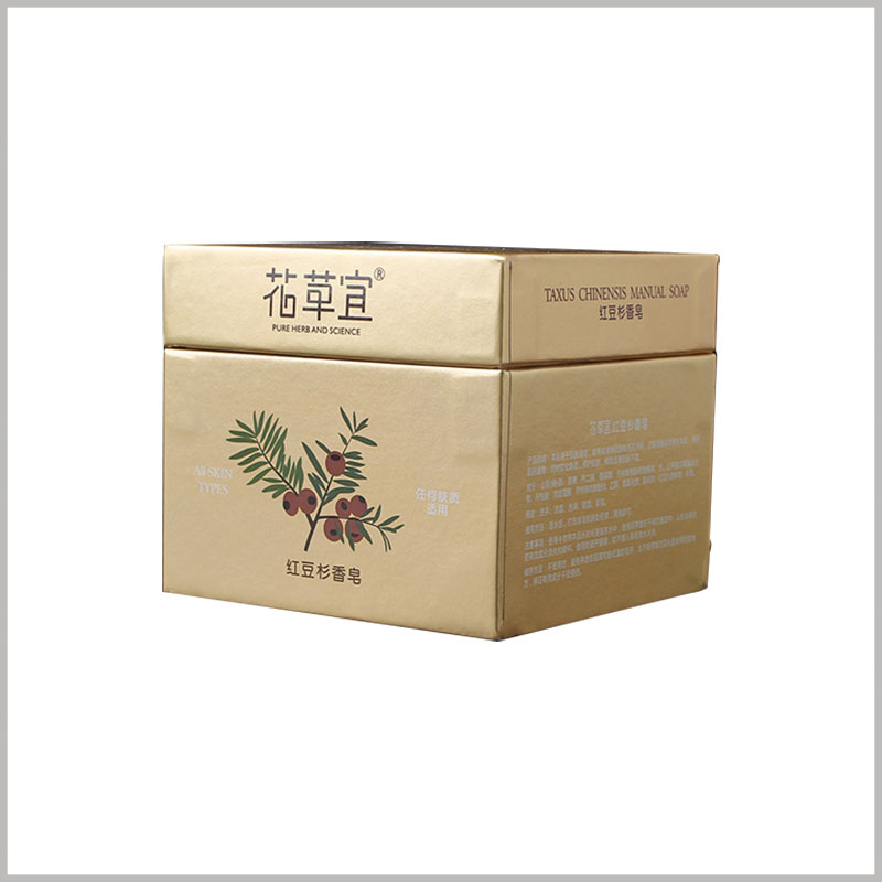 square gold cardboard soap boxes packaging. 157g gold cardboard is used as laminated paper to make the whole box present a luxurious golden visual sense.