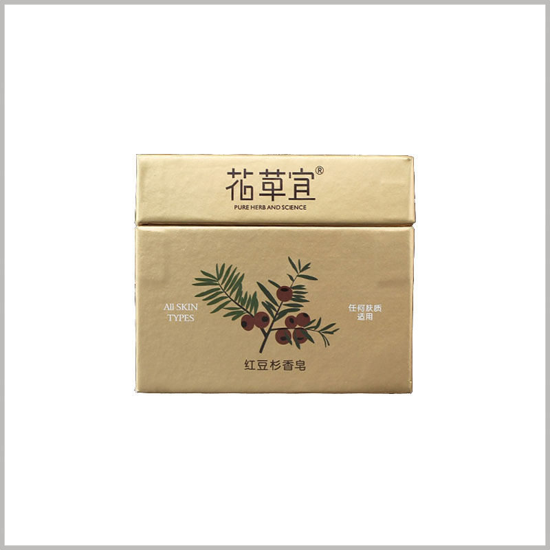 square gold cardboard soap boxes wholesale. On the front of the customized packaging box, product-related patterns and brand names are printed to promote the product brand.