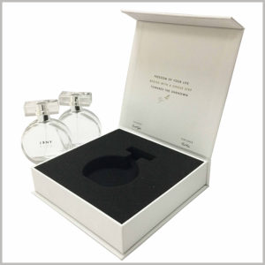 white cardboard perfume boxes with sponge insert. The sponge is soft and has high resilience, which can fully protect the perfume inside the cardboard boxes
