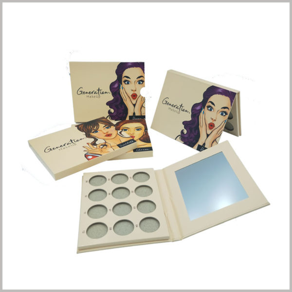 white makeup boxes for 12 colors eye shadow packaging. By setting a mirror inside the lid of the eyeshadow palette, customers will be able to use the eyeshadow products more conveniently.