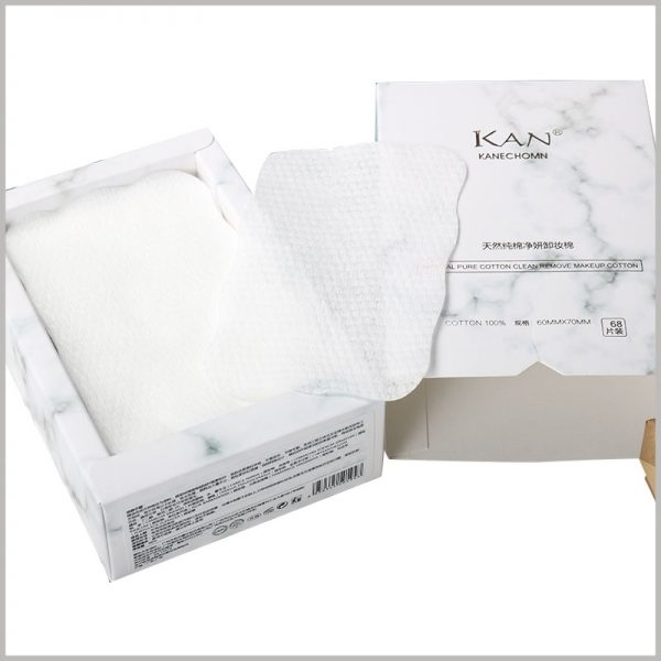 white small cotton pads box packaging wholesale. There are triangular grooves on the edge of the custom package, which can help open the package more easily.
