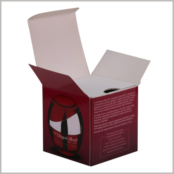 wholesale Skin care boxes for 50ml facial cream packaging, Inside the square box is a corrugated inner card for protecting skin care glass bottles.