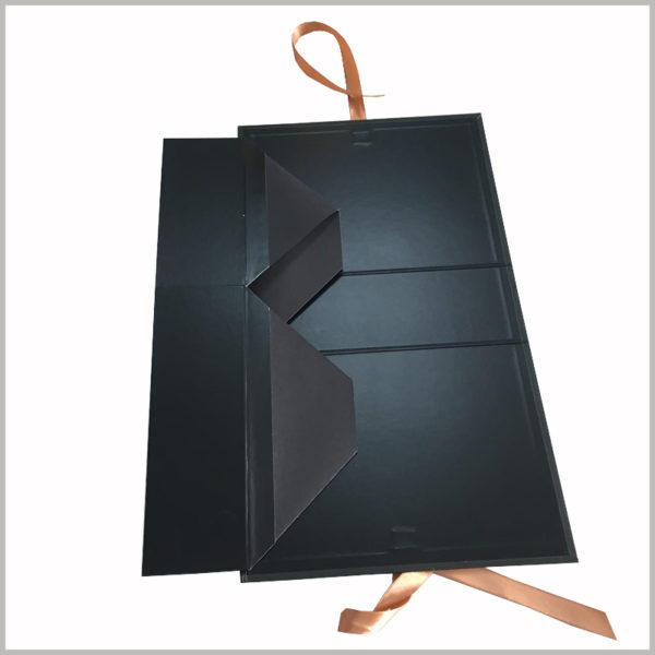 wholesale black cardboard gift boxes packaging for hair bundles.Fully foldable packaging will reduce the footprint and reduce packaging and transportation costs.