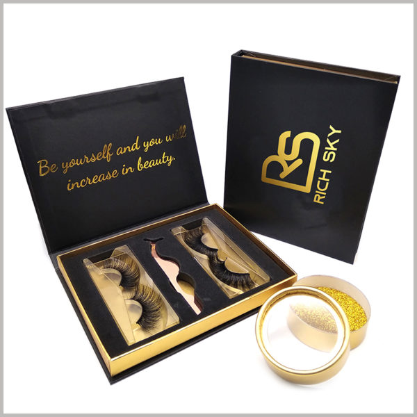 wholesale black cardboard packaging for eyelashes gift set,This high-end gift box packaging promotes product value and promotion and brand promotion