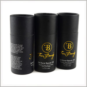 wholesale black cardboard tube for 30ml beauty oil packaging