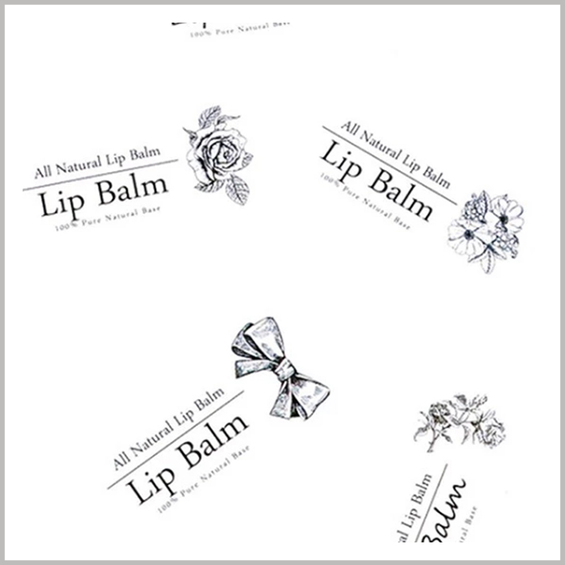 wholesale clear labels for lip balm.The style, size, printing content, etc. of the lip balm label can be customized according to the product.