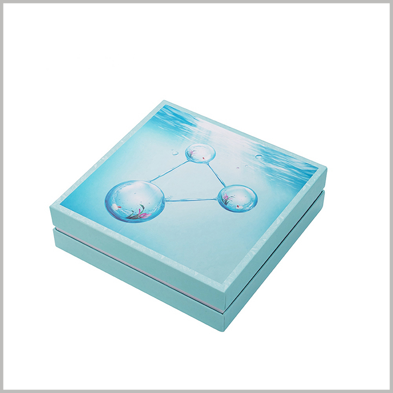 wholesale creative packaging for skin care boxes.This package uses the ocean and water droplets as the main elements of the package design, which is closely related to the concept of skin care products from deep sea extracts.