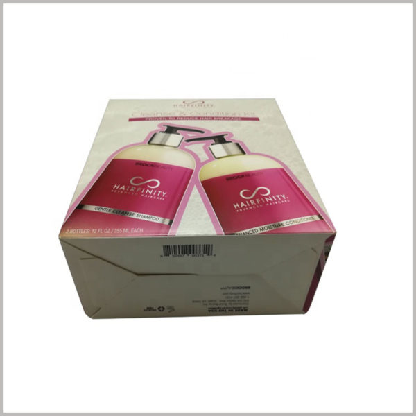 wholesale foldable packaging for shampoo box set. Printing barcodes on the bottom of foldable product packaging will help to identify the authenticity of the product and protect the brand value.