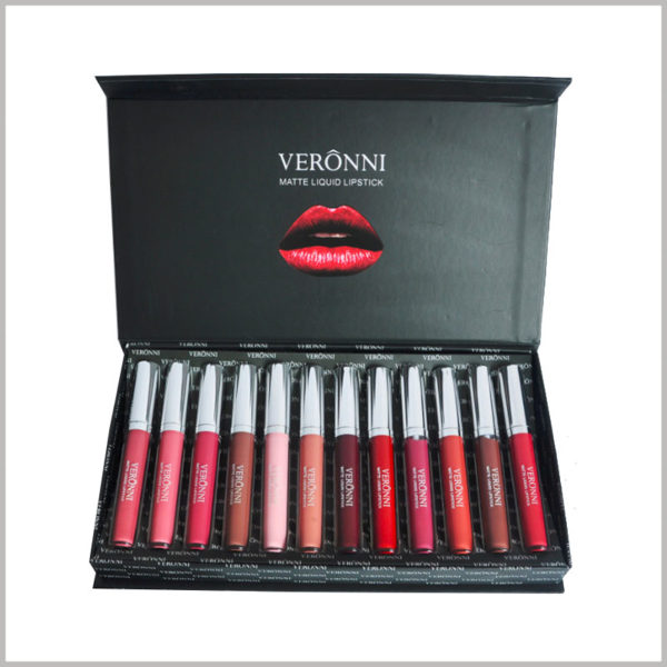 wholesale large black boxes for 12 bottles of lip gloss packaging. Inside the box, a red lip pattern and a white product logo are printed on the lid to further deepen the consumer's brand impression.