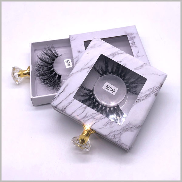 wholesale small cardboard drawer boxes for lashes packaging.This small cardboard packaging box with Windows, consumers do not need to open the package to see the product model inside the boxes.