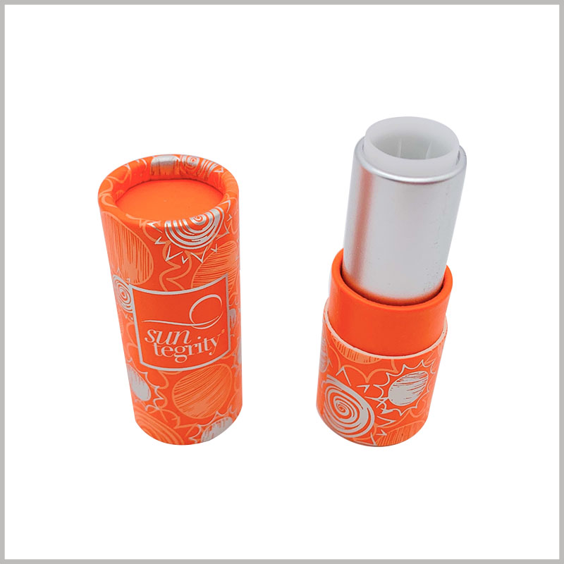 wholeslale Orange sunscreen lipstick tube empty. Paper lipstick tube packaging consists of two parts, one is printed paper tube and the other is plastic inner tube.