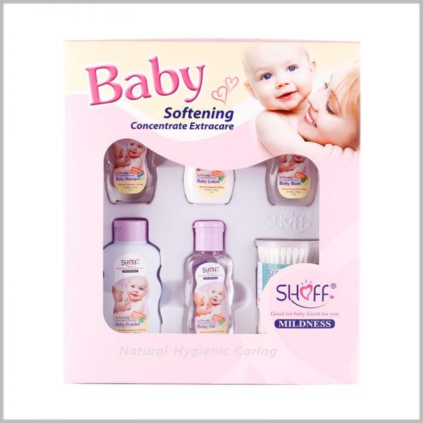 windows packaging for baby care products. Customized packaging can print different content to distinguish different products and brands.